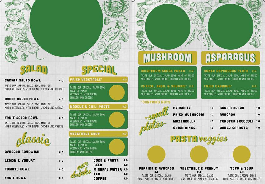 Dietary warnings on modern menu design