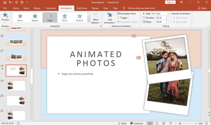 PowerPoint animated photos album
