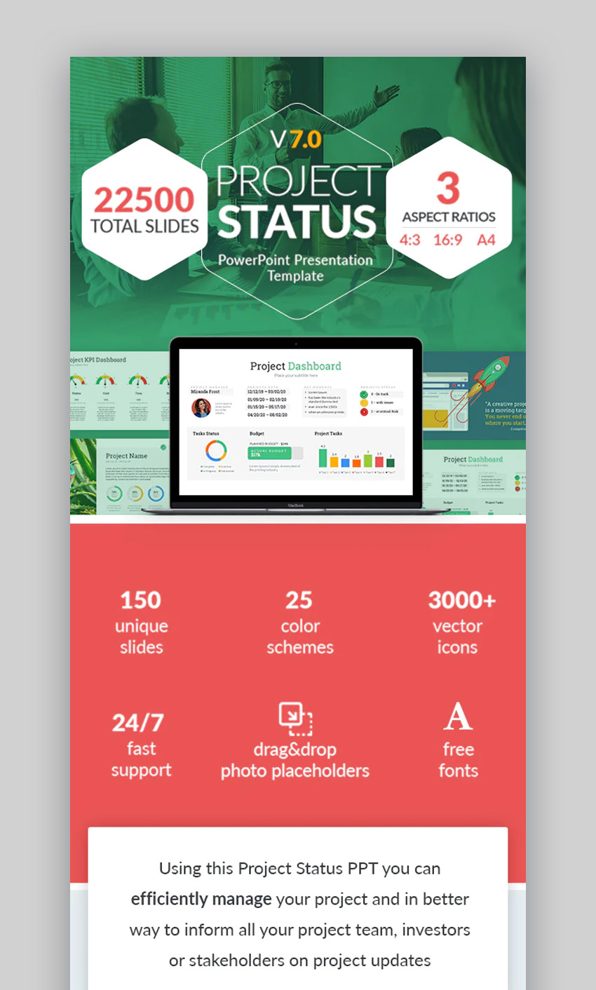 Project status PPT template design