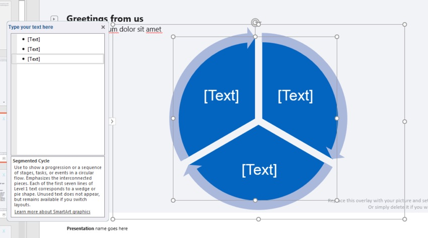 Segmented cycle SmartArt PowerPoint