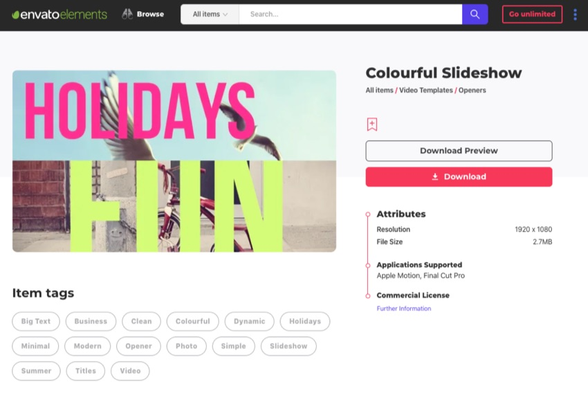 Envato Elements Colourful slideshow