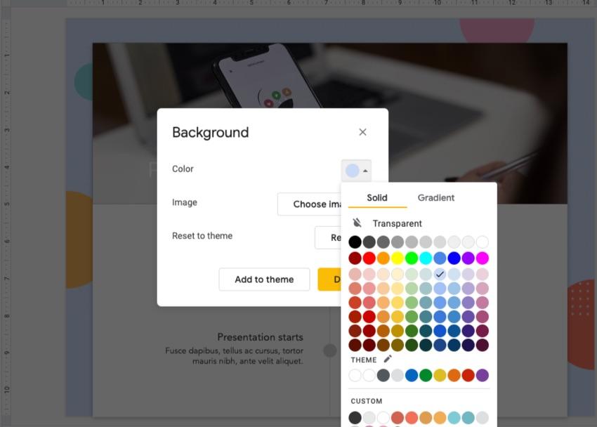 Background Color Google Slides theme
