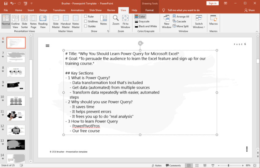 Paste outline in PowerPoint presentation