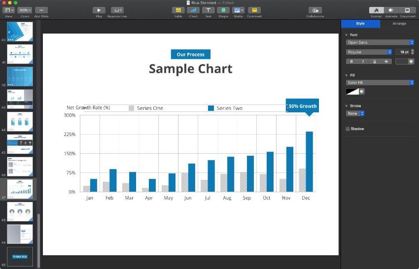 Edit data in Keynote chart