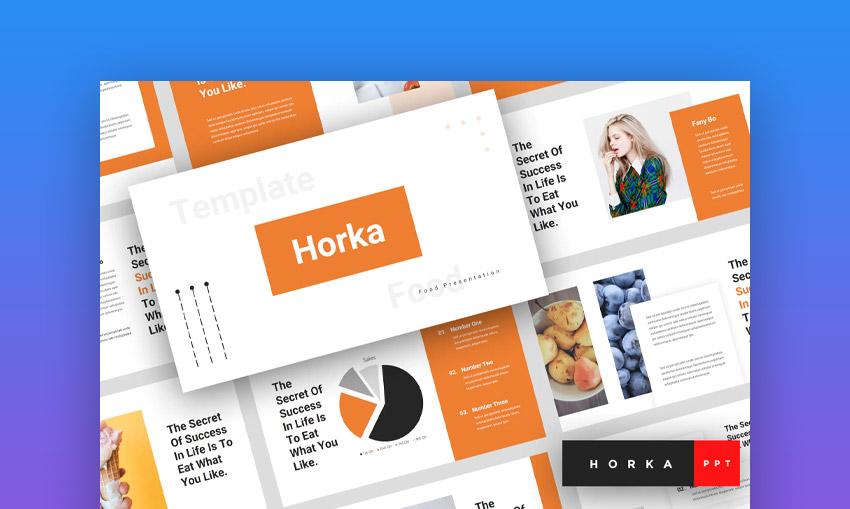 Horka food menu PowerPoint template