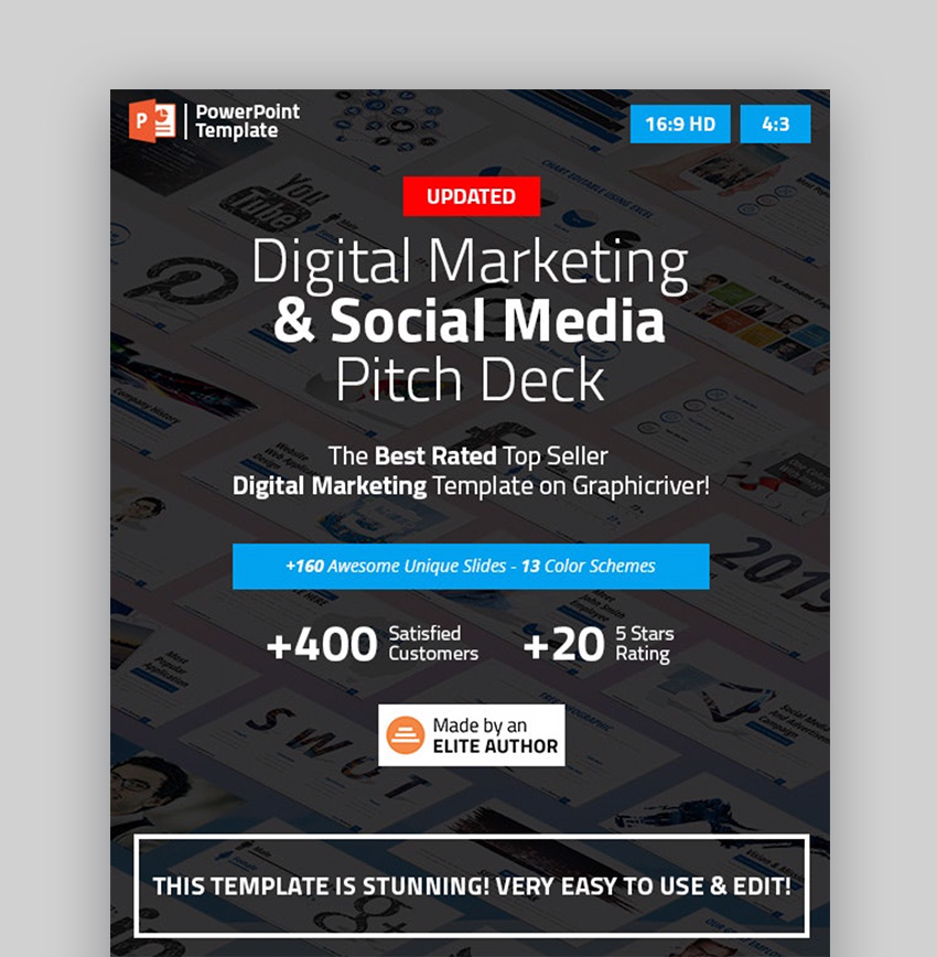 Digital pitch deck social media PowerPoint template