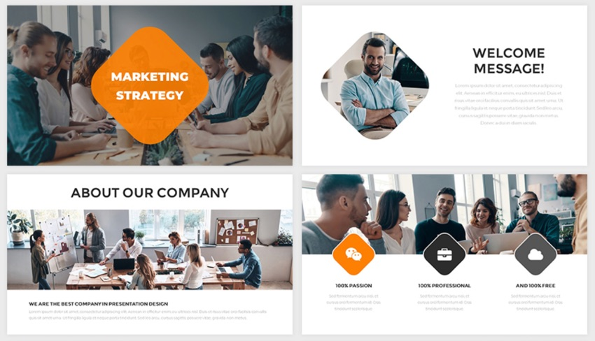 Marketing free PowerPoint tempaltes with social media theme