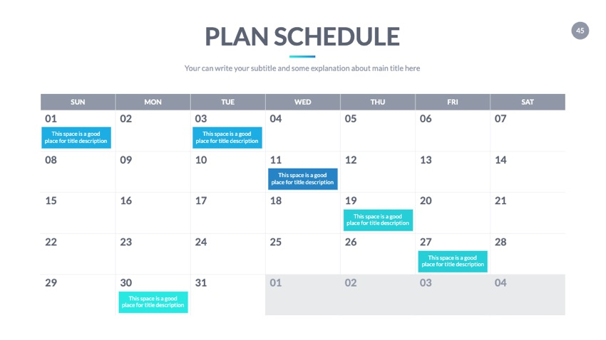Plan calendar for Google Slides