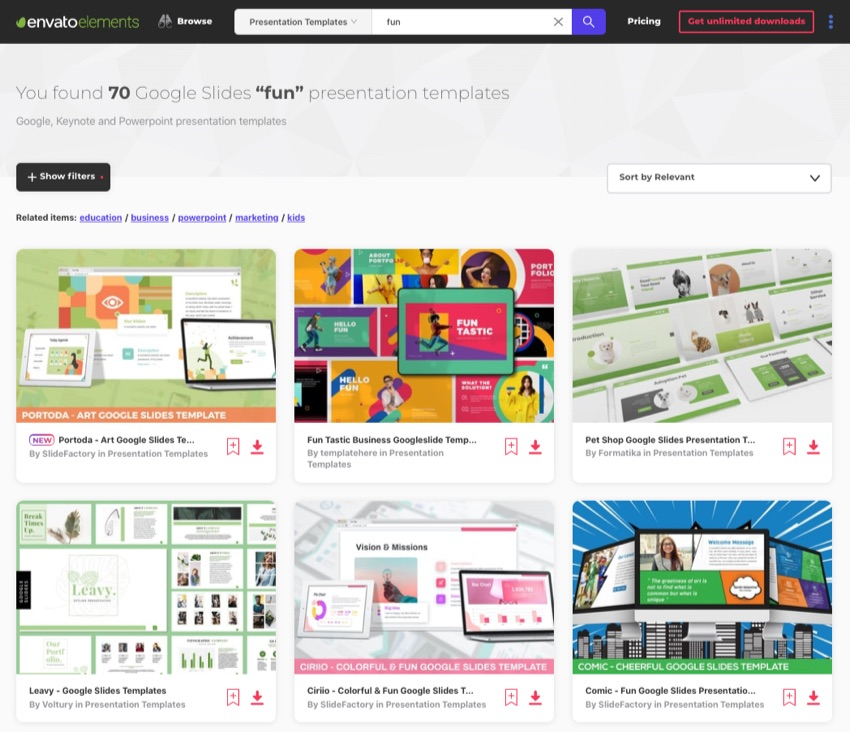 Elements Fun Google Slides themes