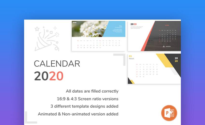 2020 calendar for presentation