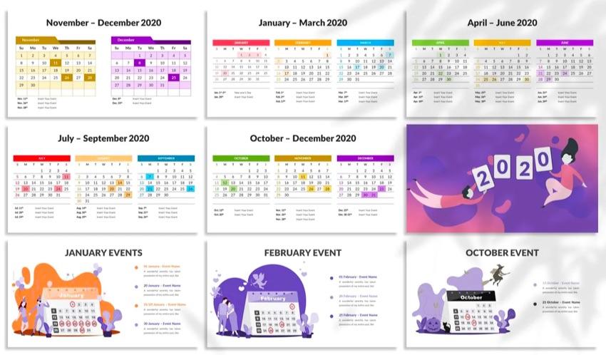 Highlighted calendar template PPT