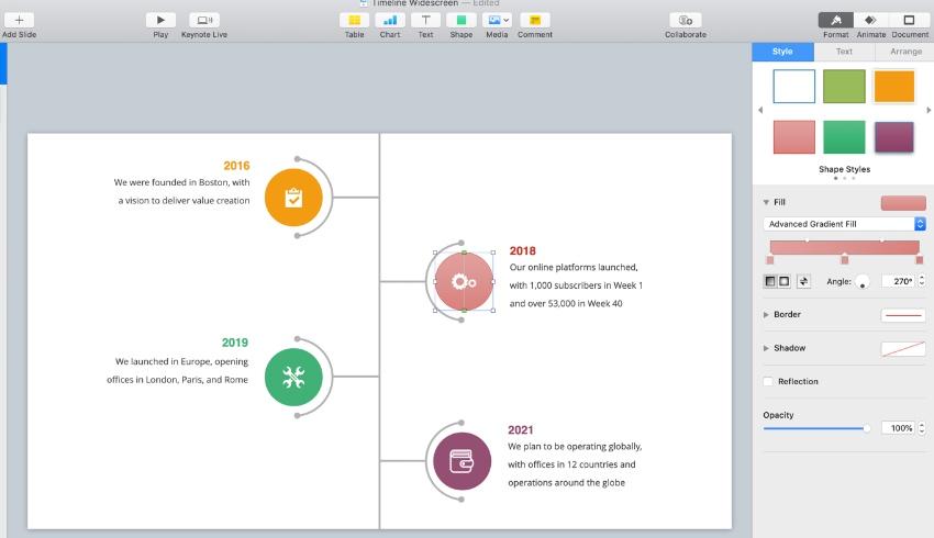 Step 4 Apple Keynote timeline