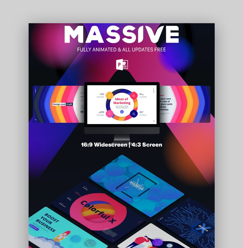 Massive rainbow PowerPoint template