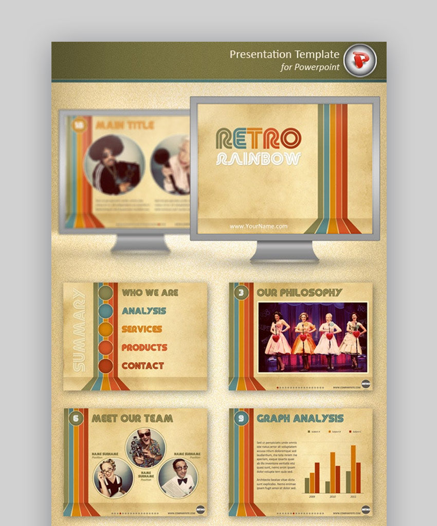 retro rainbow PowerPoint template
