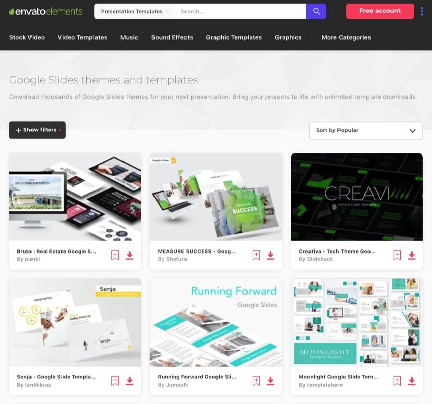 Elements Google Slides masters