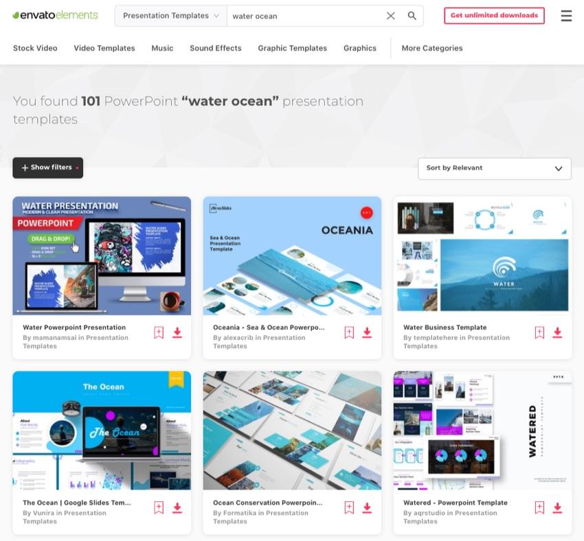 Envato Elements Google Slides ocean theme