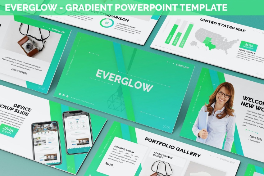 Everglow neon PowerPoint template