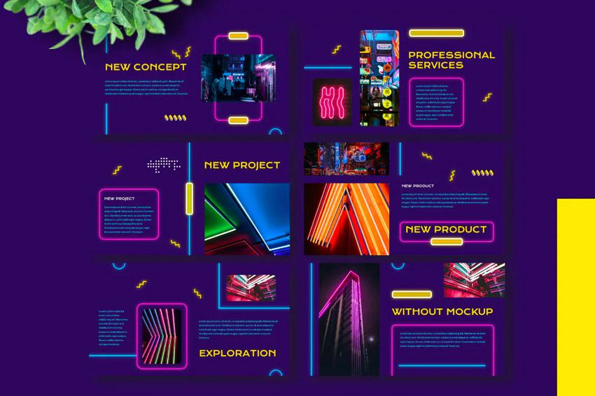 Intro neon lights PowerPoint template