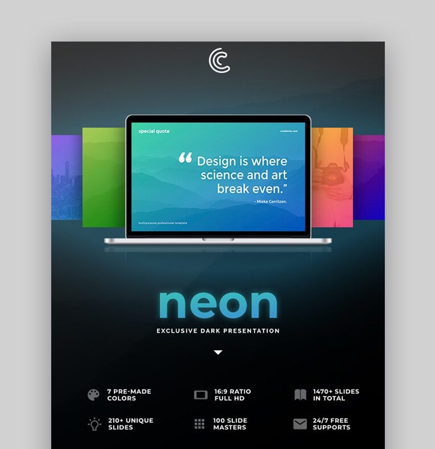 Neon lights PowerPoint template
