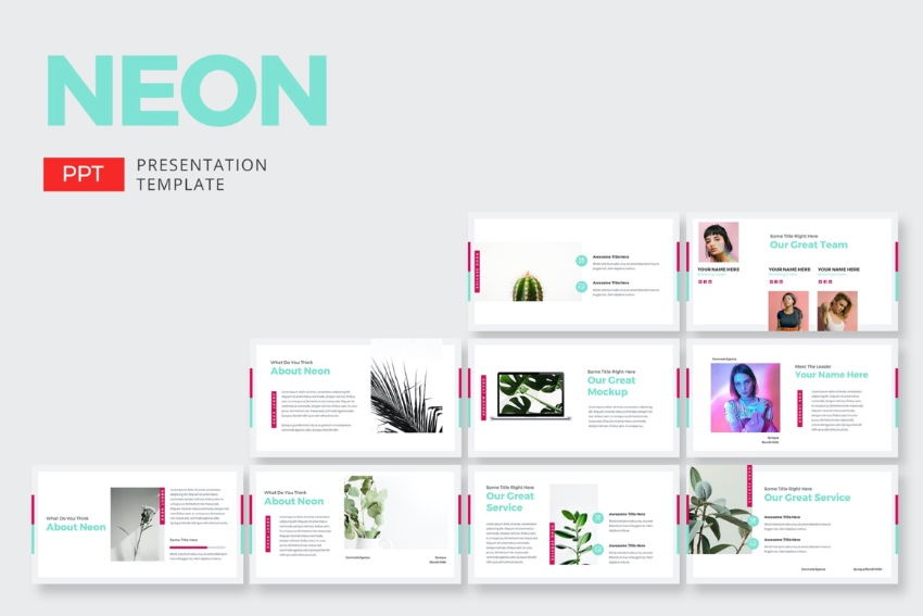 Slides neon lights PowerPoint templates