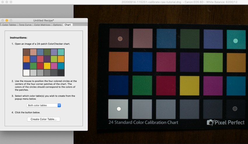 Calibrated color chart