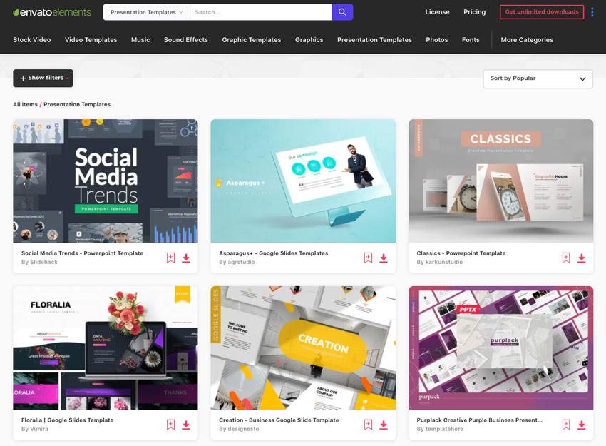 Envato Elements best presentation online
