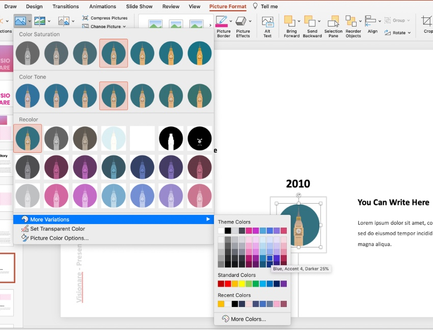 Color presentation icon