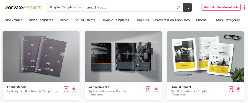 Elements Adobe InDesign annual report templates
