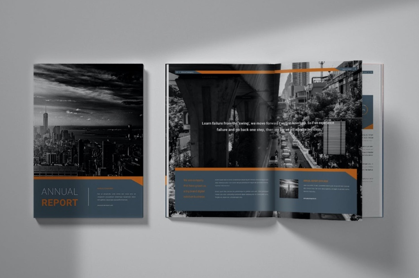 Illustrated Adobe InDesign annual report templates