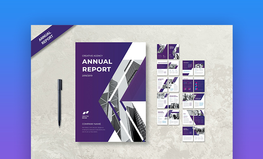 Purple Adobe InDesign annual report templates