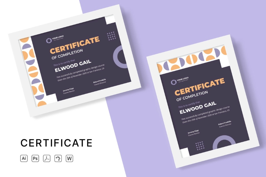 Education editable certificate template Word