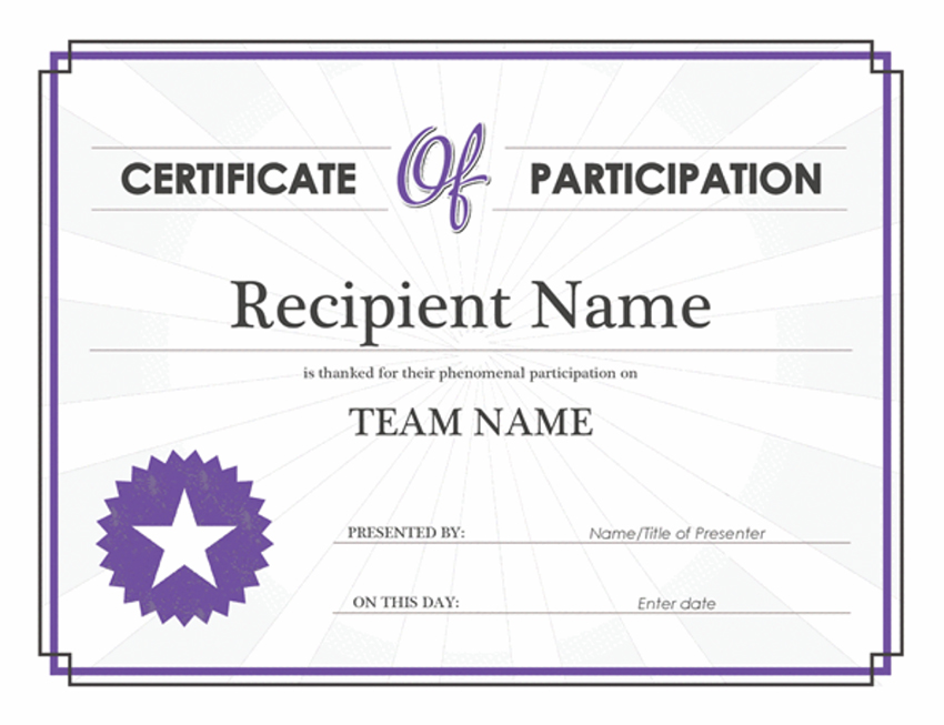 Participation editable certificate template Word