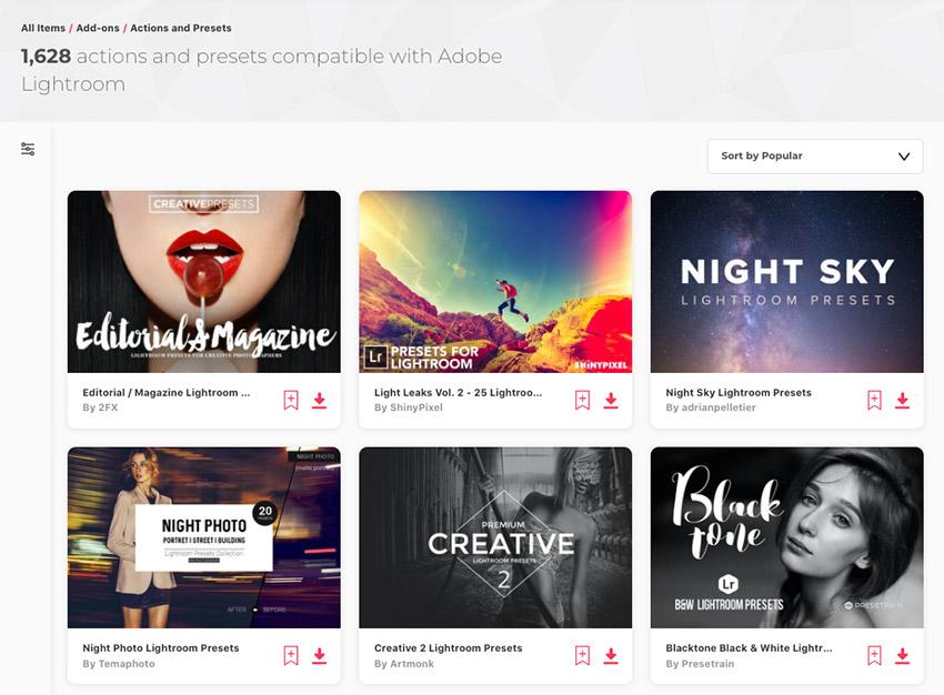 Adobe Lightroom presets grid