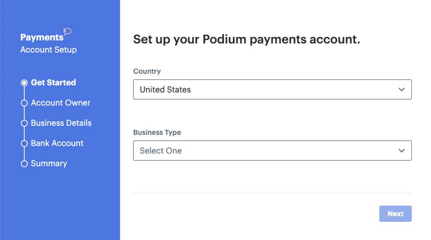 Podium add bank account