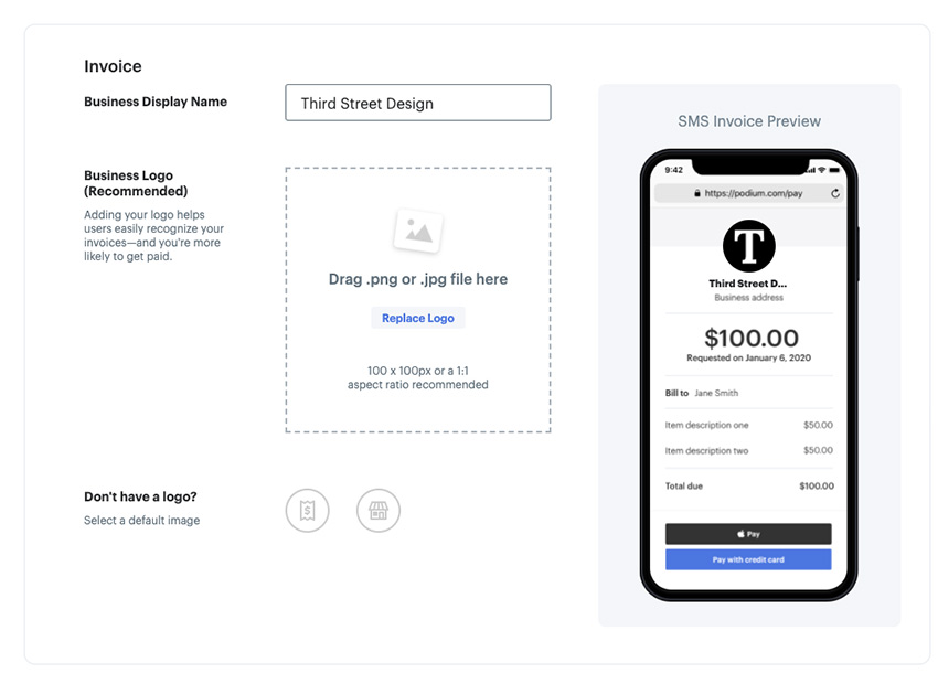 Podium pay by text branding