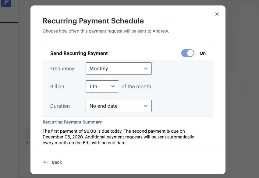 Recurring mobile payment via SMS