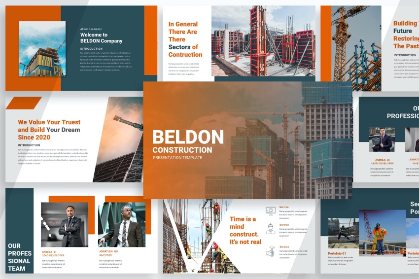 Colorful construction project presentation template