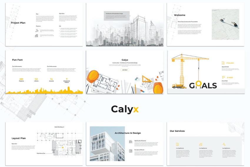 Infographic construction project presentation PPT