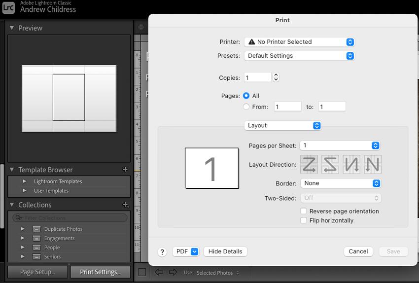 Print settings options