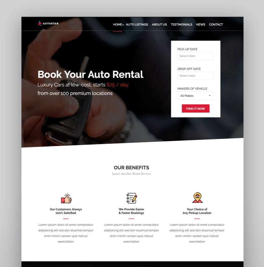 Autostar - Car Rental Theme