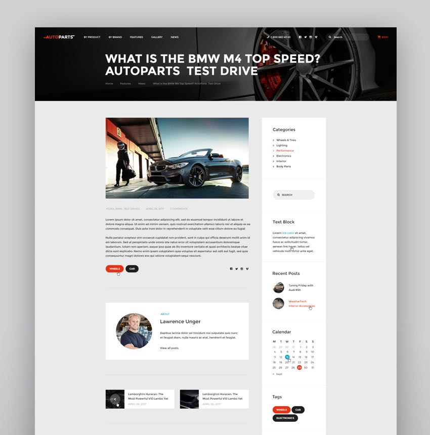 Car Parts Store  Auto Services WordPress Theme
