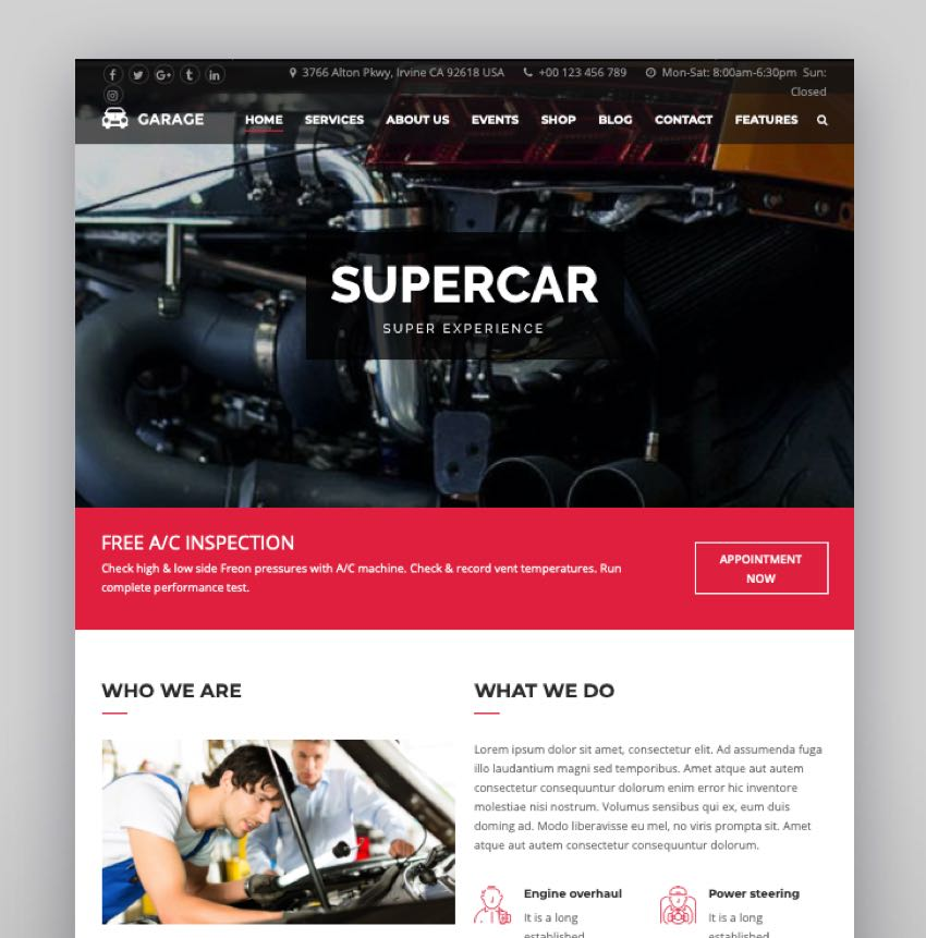 Garax  Automotive WordPress Theme