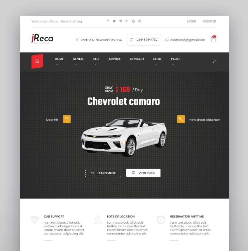 Ireca - Car Rental Boat Bike Vehicle Calendar WordPress Theme