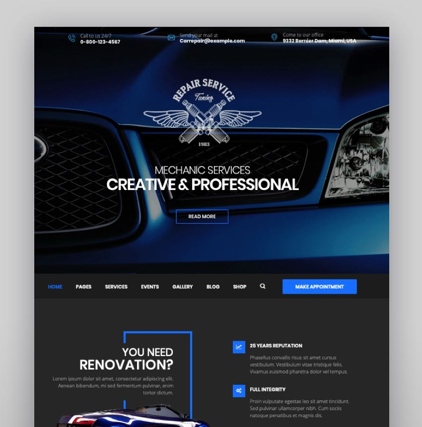 CarRepair - Auto Mechanic  Adjustment WordPress Theme