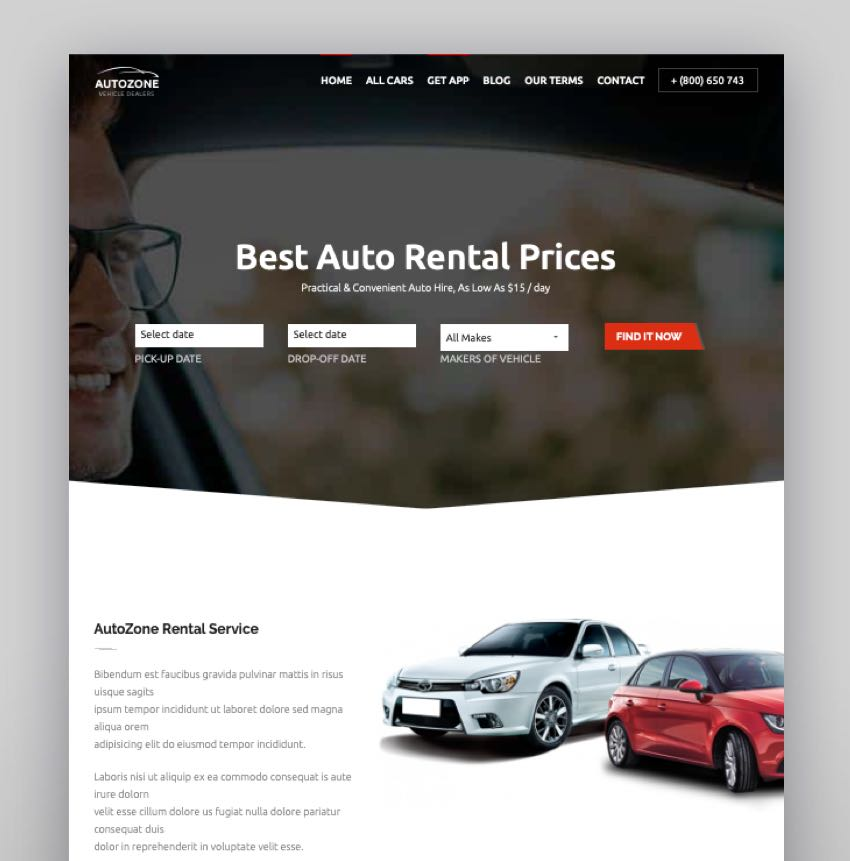 Autozone - Auto Dealer  Car Rental Theme