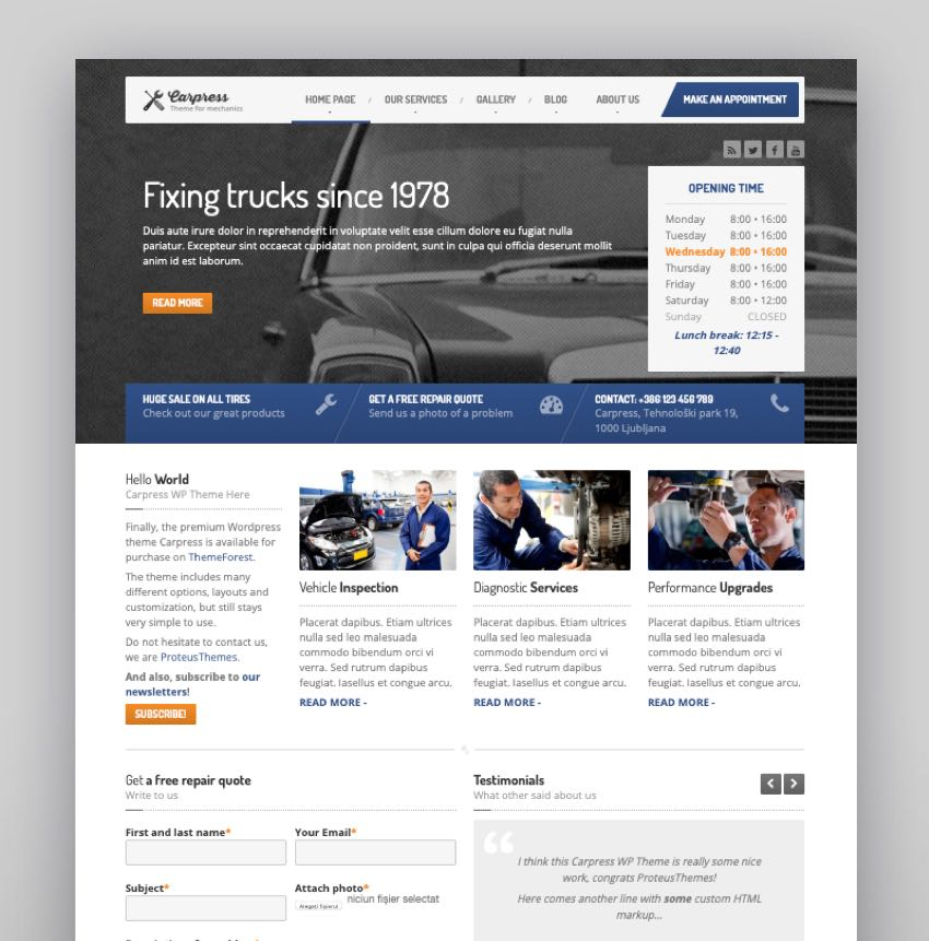 CarPress - WordPress Theme For Mechanic Workshops