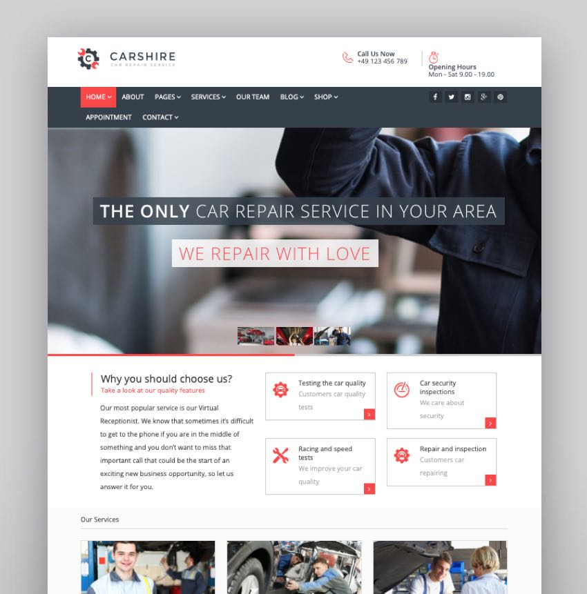 Car Shire - Auto Mechanic  Repair WordPress Theme