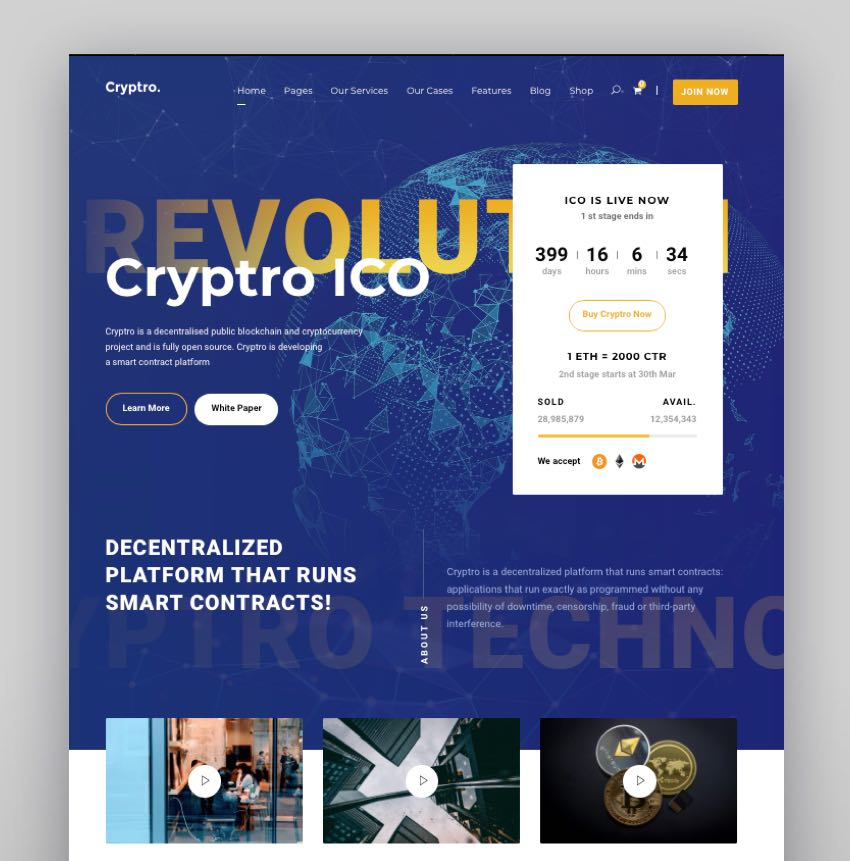 Cryptro - Cryptocurrency Blockchain  Bitcoin  Financial Technology
