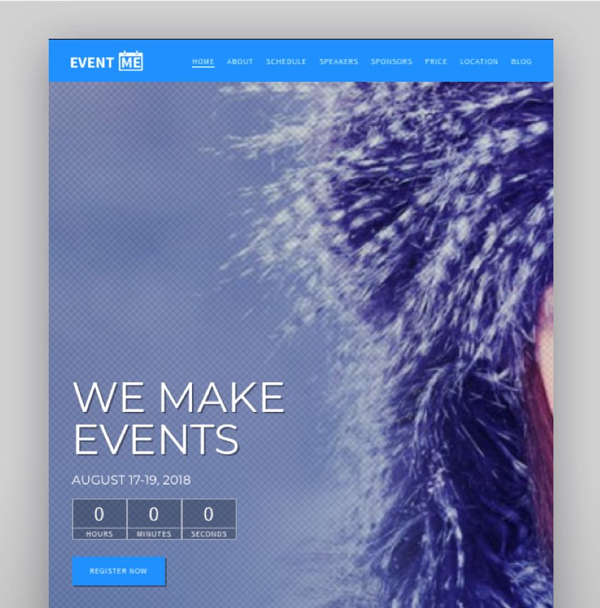 EventMe - Corporate Event Landing WordPress Theme