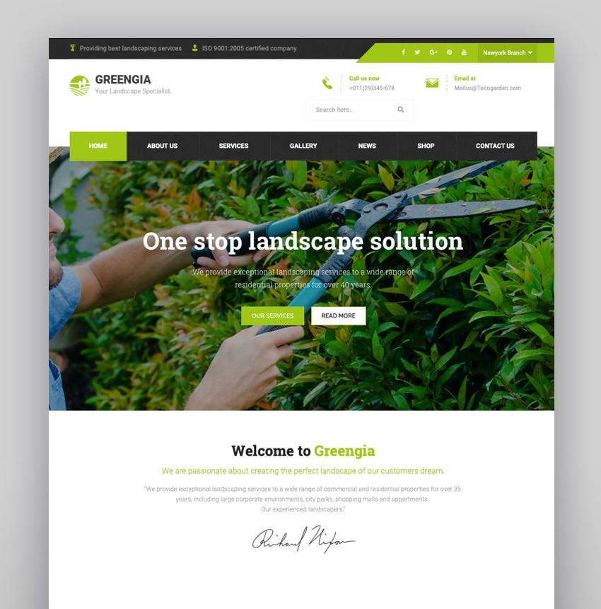 Greengia - Gardening Lawn and Landscaping WordPress Theme